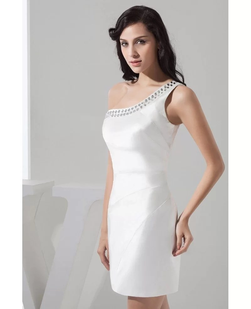 Simple Short White Satin Cocktail Prom Dress With Beaded