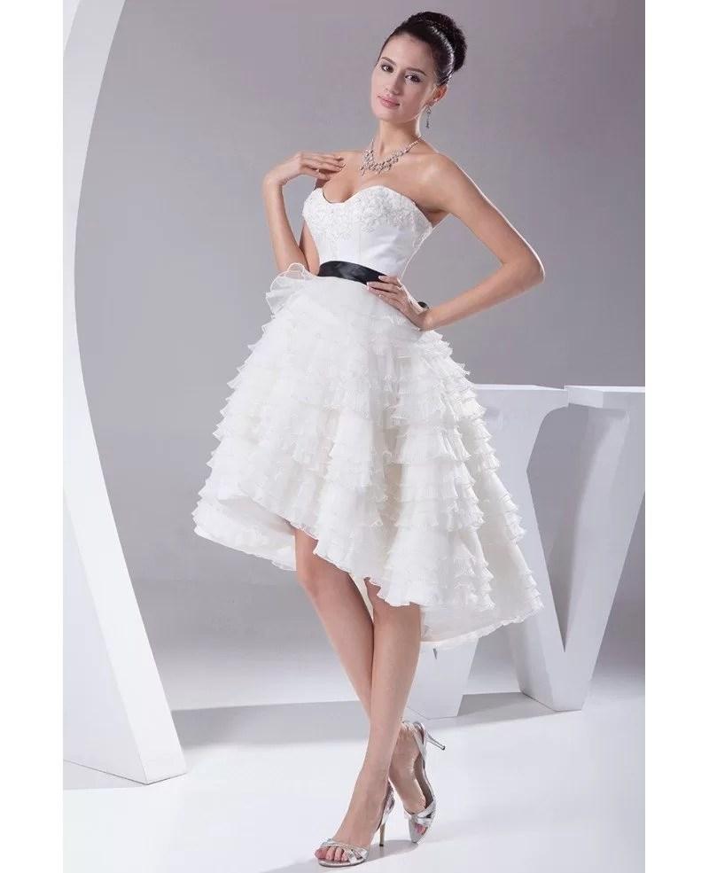 Reception Short Wedding Dresses High Low Cute Sweetheart Asymmetrical Style OP4148 1899