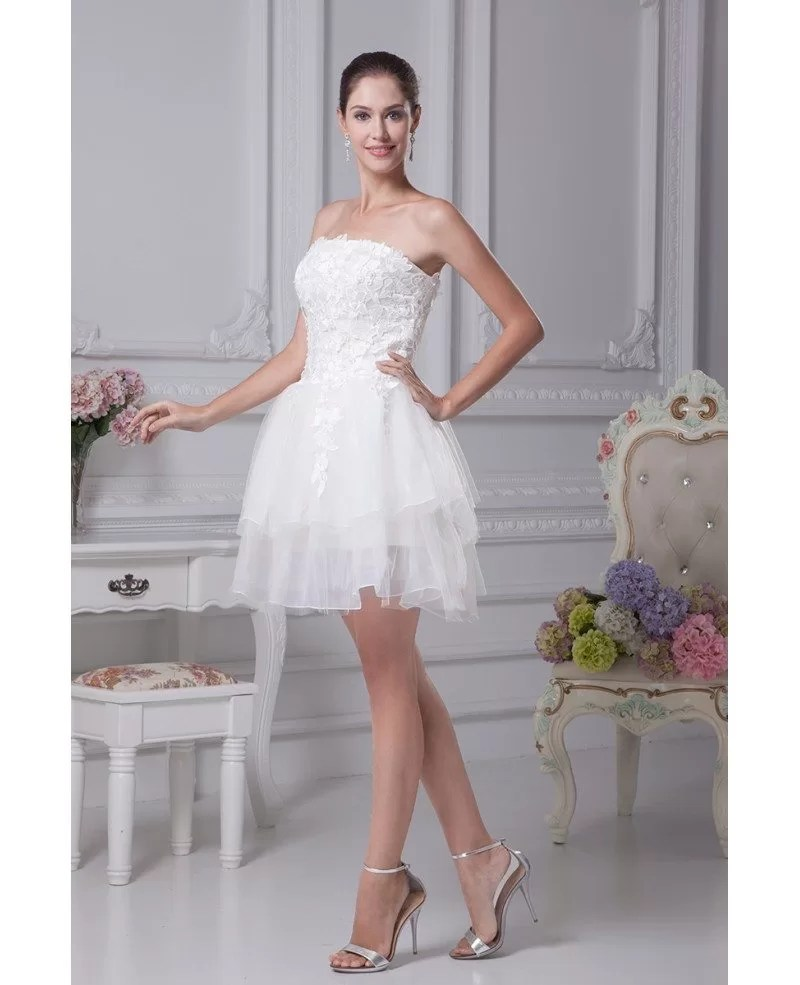 Strapless Tulle Short Wedding Dresses Tutu Lace Reception Style OP4169 1121  GemGracecom