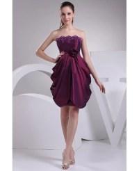 Strapless Ruffled Taffeta Purple Party Dress #OP4182 $116