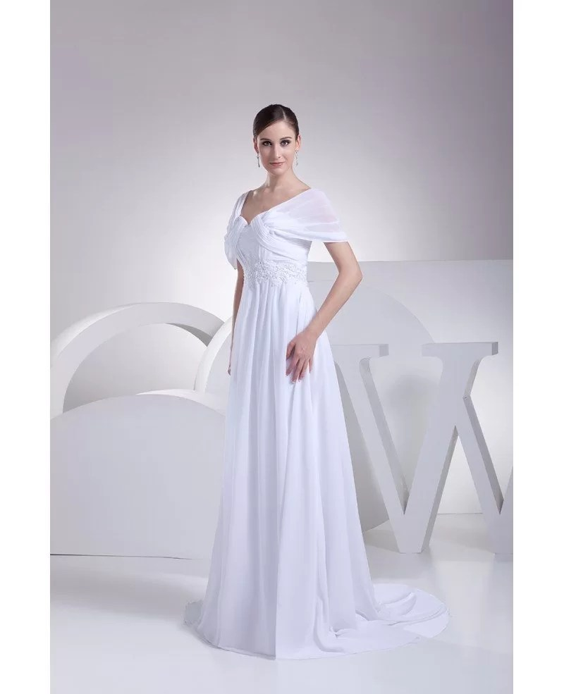 Beaded Empire Waist Long Chiffon White Wedding Dress with Sleeves OP4195 1556  GemGracecom