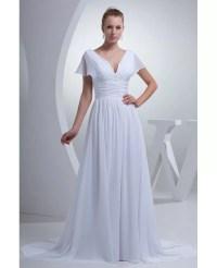 V-neck Long White Chiffon Elegant Wedding Dress with ...