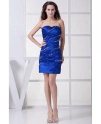 Royal Blue Sequins Pleated Short Bridal Party Dress # ...