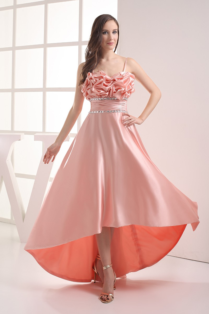 Pink Silky Satin High Low Prom Dress with Straps OP4025 1469  GemGracecom