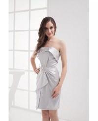 Gorgeous Silver Strapless Short Bridesmaid Dress #OP4027 ...