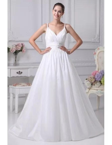 Elegant White Empire Waist Maternity Wedding Dress with Straps OPH1062 215  GemGracecom