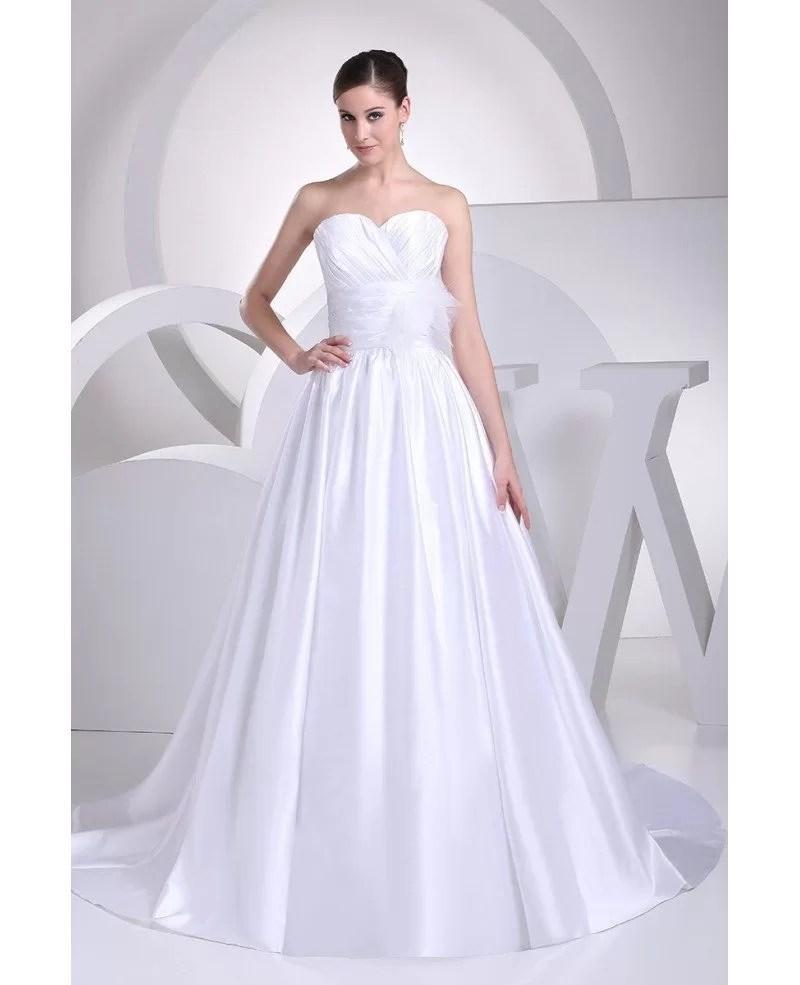 Sweetheart Aline Empire Waist White Satin Wedding Dress with Flower OPH1069 173  GemGracecom