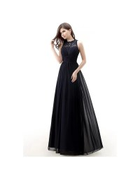 Modest Long Lace Empire Chiffon Bridesmaid Dress #CY0104