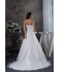 Strapless Organza Lace Wedding Dress with 3/4 Sleeves ...