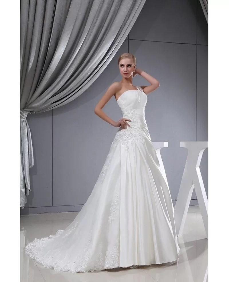 One Strap Lace Satin Pleated Wedding Dress with Corset OPH1312 2429  GemGracecom