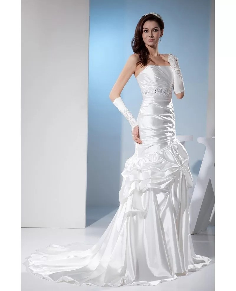 White Sleek Satin Pleated Wedding Dress Ruffled OPH1375