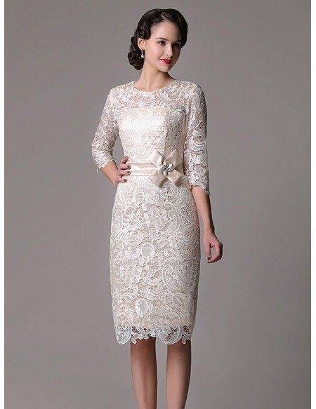 Elegant Sheath High Neck Knee-length Lace Wedding Dress With Lace Sleeve