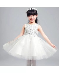 Ballroom Short Sequined Flower Girl Dress with Lace Beaded ...