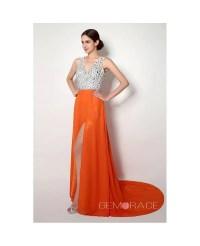Sheath V-neck Court-train Prom Dress #C23256 $129 ...