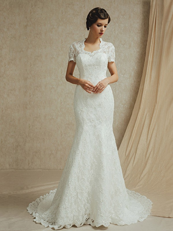 Modest Lace Short Sleeves Mermaid Long Train Wedding Dress