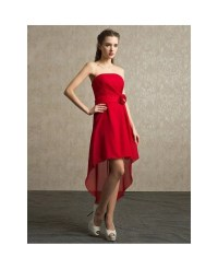 Red Chiffon High Low Strapless Bridesmaid Dress Short ...