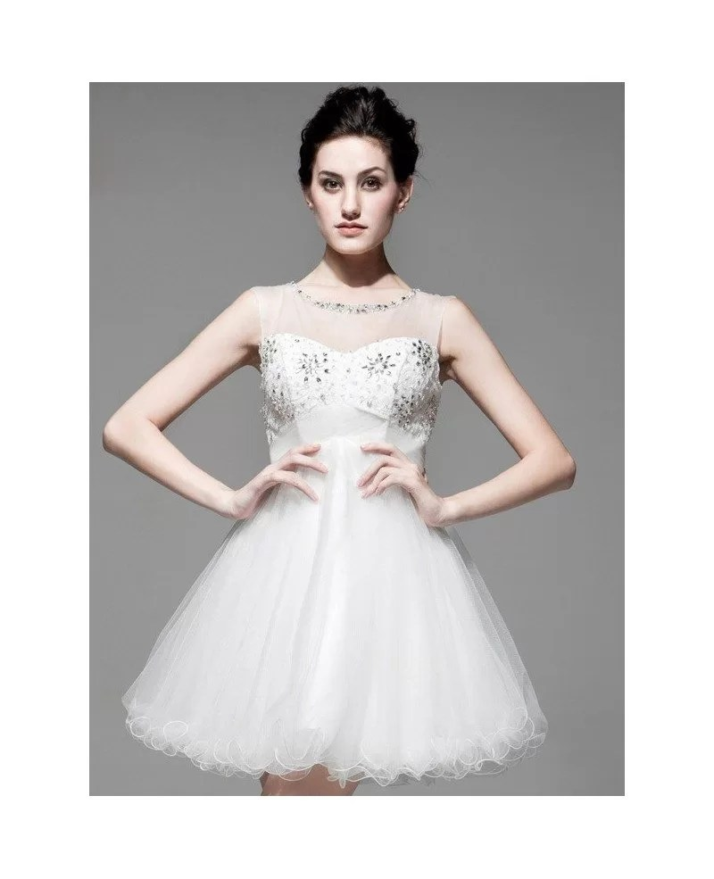 Chic Short Wedding Dresses Tulle Open Back with Beading Style BS079 1459  GemGracecom