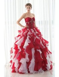 Sweetheart Beaded Red and White Quinceanera Dress with ...