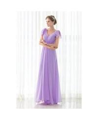 Purple Long Pleated Chiffon Elegant Bridesmaid Dress # ...
