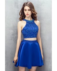 Bling Sequins Royal Blue Two Pieces Satin Short Prom Dress ...