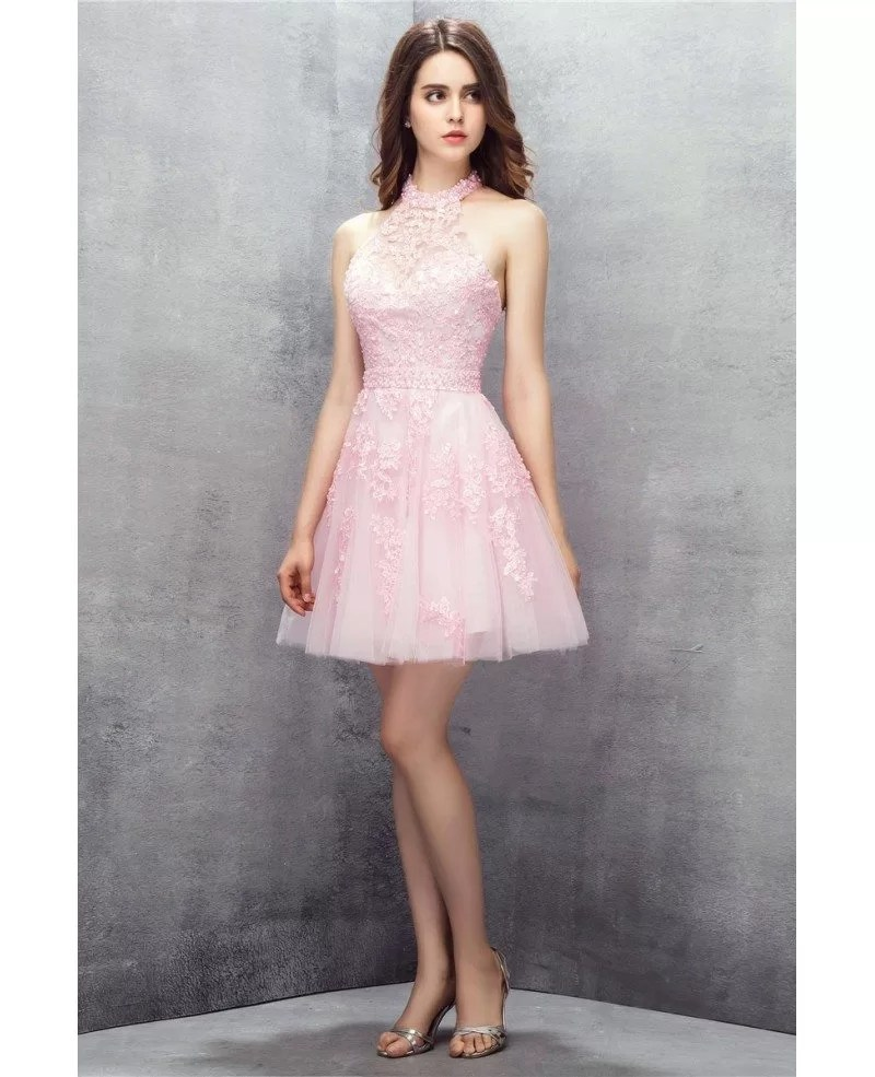 Pink Short Halter Lace Tulle Prom Dress YH0113 122
