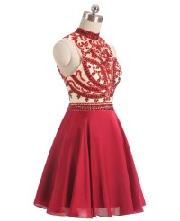 Burgundy Red Beaded Short Halter Chiffon Prom Dress # ...