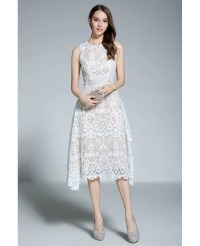 A-line Scoop Neck White Lace Sleeveless Knee-length Formal ...