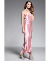 A-line V-neck Ankle-length Silk Pink Evening Dress #CK599 ...