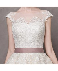 Vintage Short Wedding Dresses Lace Cap Sleeves Ivory High ...