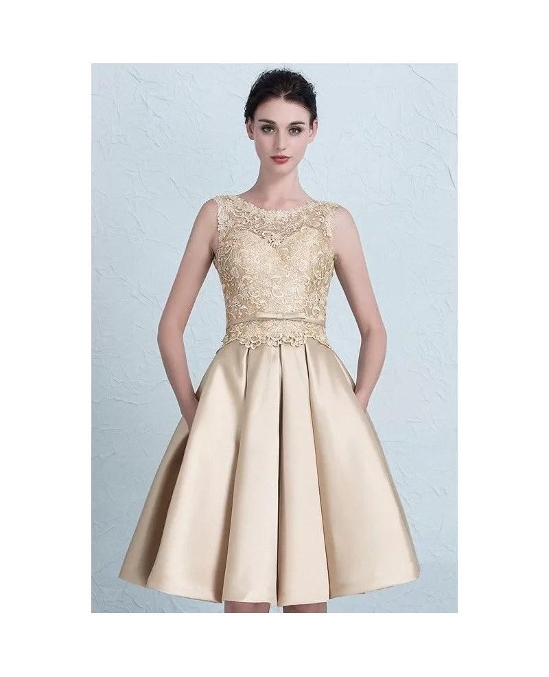 Cheap Short Wedding Dresses Lace Satin High Neckline Style