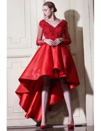 Red A Line High Low Wedding Dresses With Sleeves V-neck ...