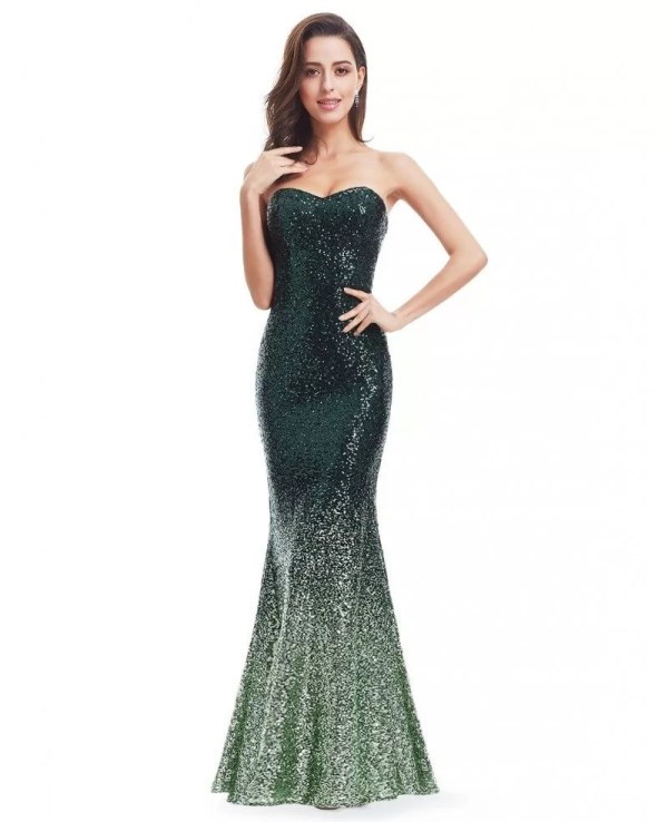 Green Mermaid Sweetheart Sequined Long Party Dress #