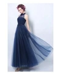 Navy A-line Halter Floor-length Bridesmaid Dress With ...