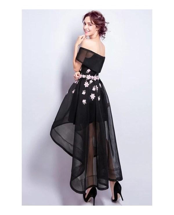 Black -line -shoulder High Tulle Formal Dress