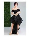 Black Off Shoulder High Low Dresses