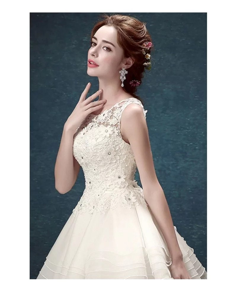 Ivory 2017 Short Wedding Dresses Backless for Reception Cute Scoop Neck Tulle Style With Open