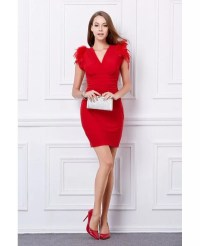 Sexy Sheath V-neck Wedding Guest Dresses With Feather # ...