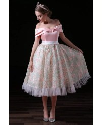 Ball-gown Off-the-shoulder Tea-length Tulle Homecoming ...