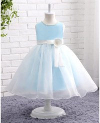 Beaded Pearls Blue And White Organza Wedding Flower Girl ...