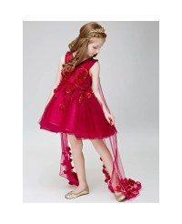 Hot Red Short Flowers Beaded Fairy Pageant Dress for ...