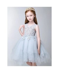 Asymmetrical Tulle Fairy Blue Lace Pageant Dress for