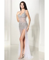 Sparkly Beading Tulle Sexy Slit Prom Dress #LG0296 ...
