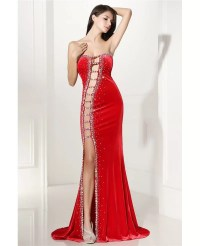 Sexy Cut-out Fitted Mermaid Red Prom Dress with Slit # ...