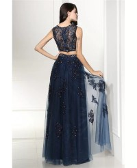 Two Piece Navy Blue Lace Long Tulle Prom Dress #LG0312 ...
