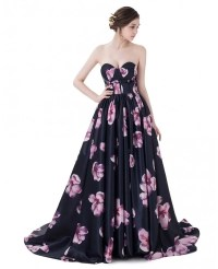 Floral Sweetheart Sexy Long Prom Dress with Flowers #