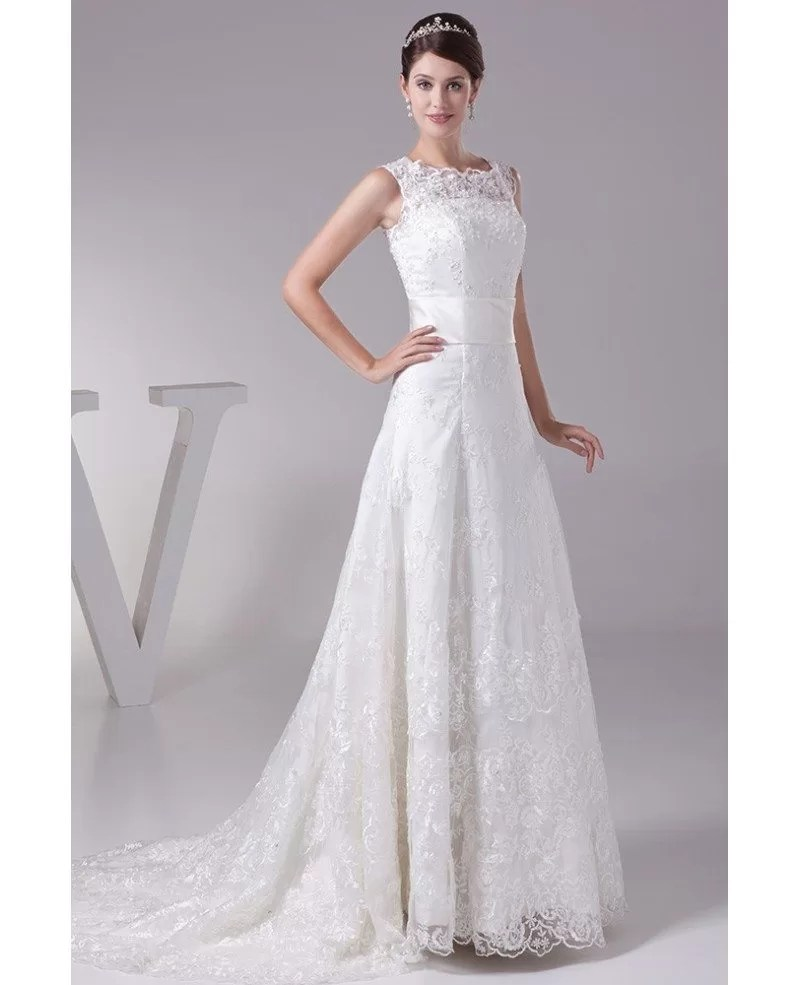 Full of Lace High Neckline Wedding Dress with Corset Back