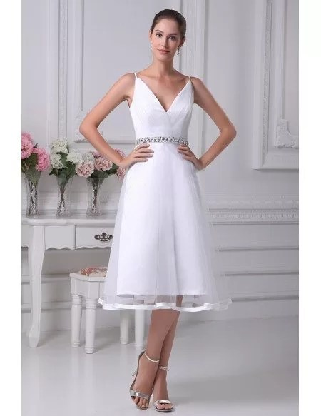 Simple Short Tulle Wedding Dresses With Straps Beaded with Deep V Neck Style OP4257 1185