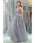 Lavender Lace Long Prom Dress