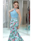 Blue Floral Two Piece Prom Dress