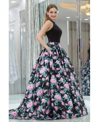 Unique Long Satin Black Printed Floral Prom Gowns With ...